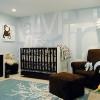Combinación para el dormitorio del bebé: celeste + blanco + chocolate