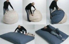 Un puff que se convierte en colchón