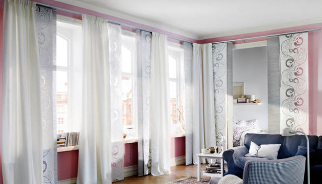 Cinco ideas para vestir ventanas for Cortinas de salon ikea