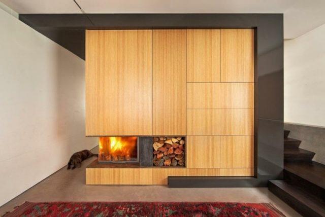 De 100 ideas con fotos de salones con chimeneas modernas for Chimeneas de madera