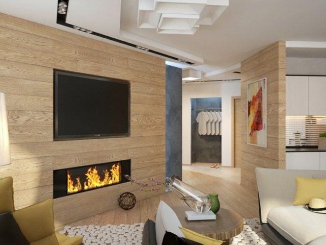 De 100 ideas con fotos de salones con chimeneas modernas - Chimeneas de pared modernas ...