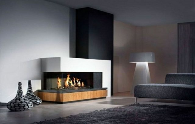 De 100 ideas con fotos de salones con chimeneas modernas for Imagenes chimeneas modernas