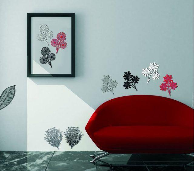 red modern sofa.