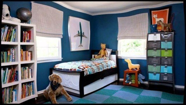 dormitorio infantil de paredes azules