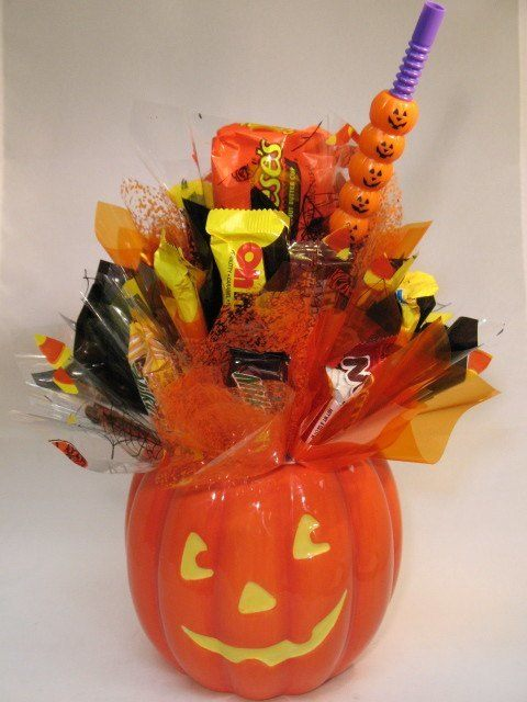 Halloween decoration-calabaza-celofan-caramelos