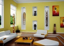 Mood-Enhancing-Living-Room-Design-Yellow-African-art