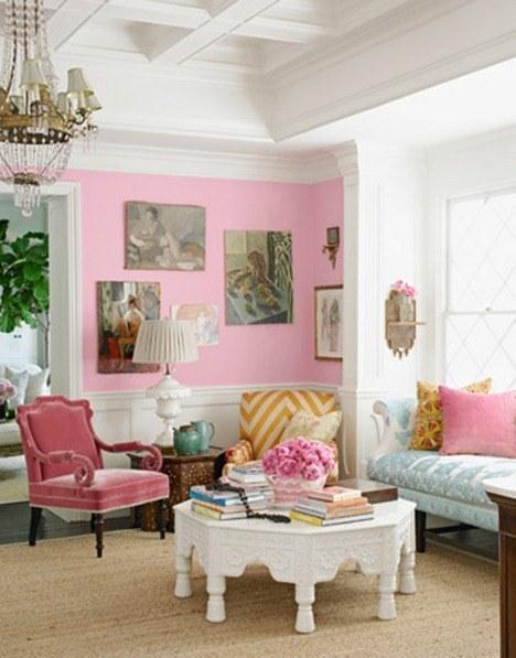 Decoracion rosa fotos for Hot pink living room ideas