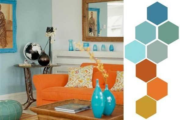 Decoracion colores - Orange and blue living room ideas ...