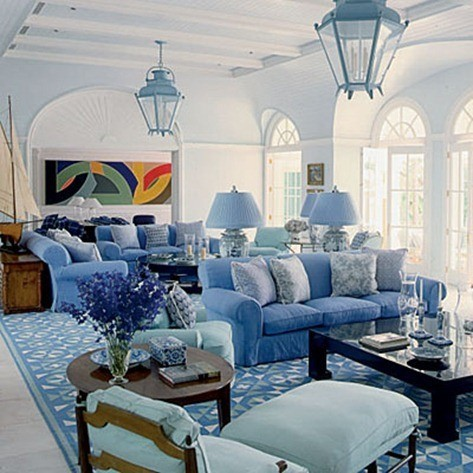 Decoracion azul fotos for Blue white living room decorating ideas