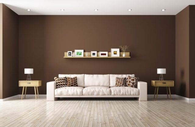 Pinturas para salon ideas modernas 2018 color marron