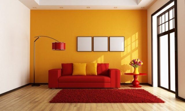 Pinturas para salon ideas modernas 2018 color naranja