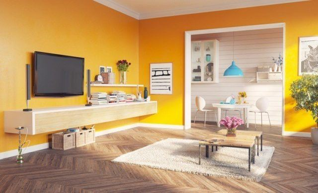 Pinturas para salon ideas modernas 2017 color ocre
