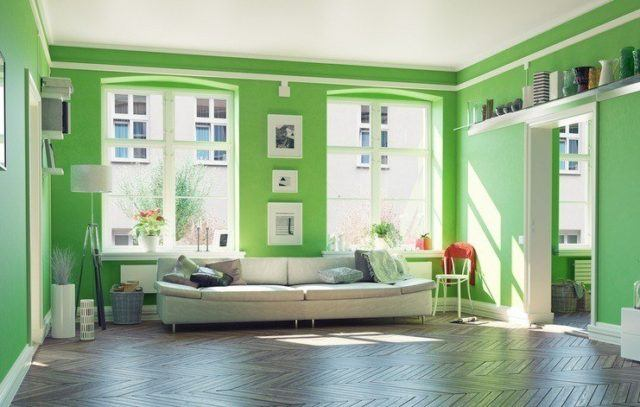 Pinturas para salon ideas modernas 2017 color verde