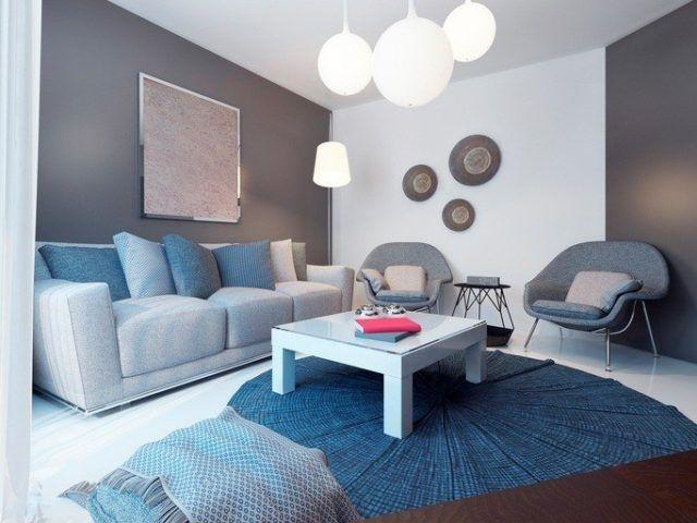 Pinturas para salon ideas modernas 2018 gris y blanco