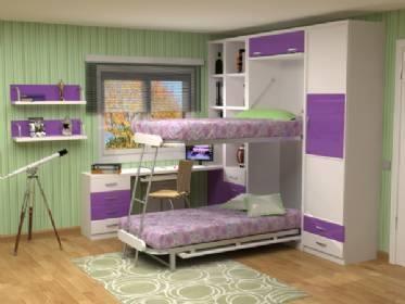 Ahorrar espacio muebles funcionales - Habitaciones juveniles camas abatibles horizontales ...