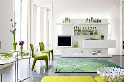 green-white-modern-living-room-Roche-Bobois