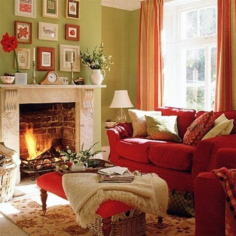 red, green and taupe living room