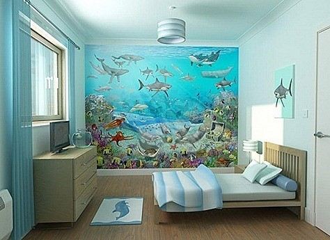 Kids-Wall-Mural-Bedroom-Design-in-Sea-Adventure-Theme-600x437