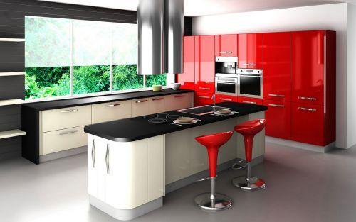 Cocinas integrales pequenas modelo rojo negro for Modelos cocinas pequenas