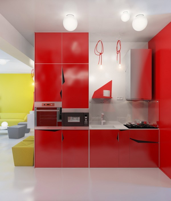 kitchens-integral-small-modern-red