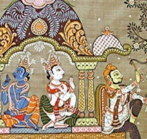 krishna-in-dwarka-tussar-silk-painting