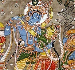 "Livre ""BHAGAVAD GITA"": partageons ensemble si vous l'avez lu ou le lirez - Page 2 Radha-and-krishna-tussar-silk-painting1"
