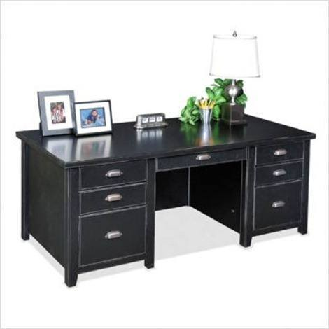 Tribeca Loft Black - 69- W Double Pedestal Executive Desk