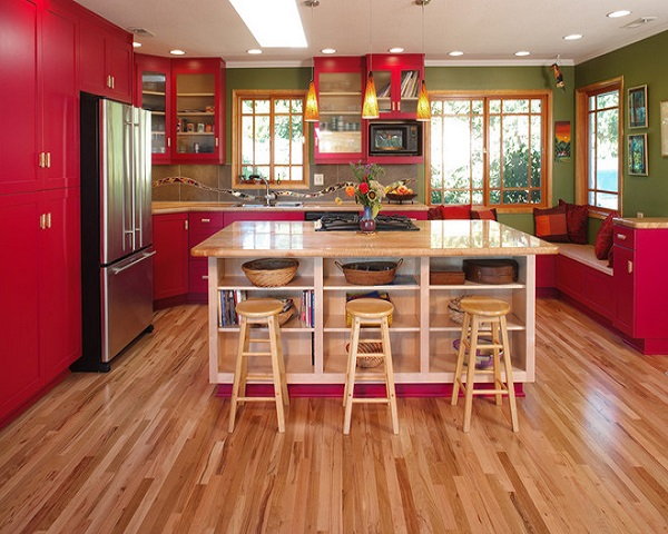 Cocina roja madera