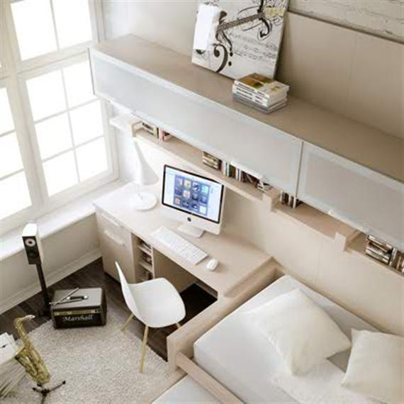 white-brown modern kids-teens bedroom
