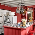 red kitchen country living