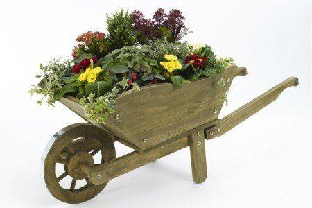 Macetas de madera for Carretilla de madera para jardin