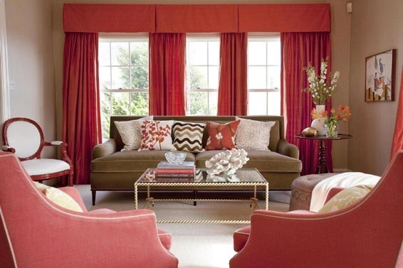 Beige and red living room with coral red curtains and armchairs for Red and cream curtains for living room
