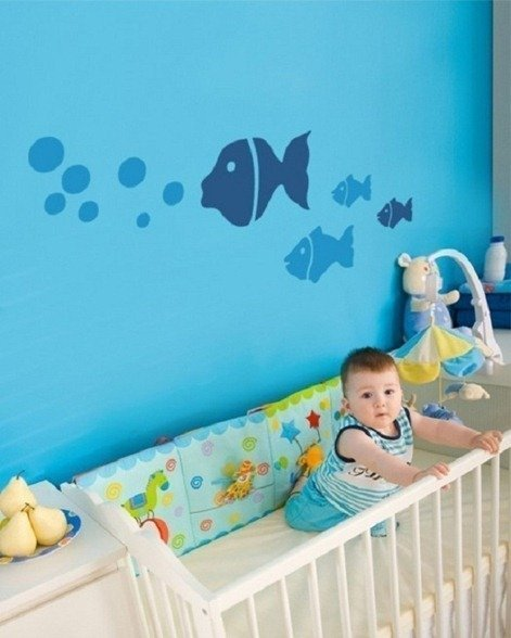 Fish at Cool Baby and Kids Room with Wall Sticker Design.jpg