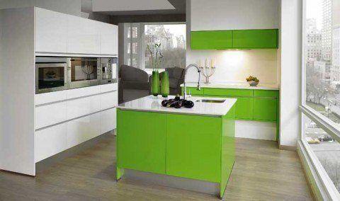 Cocina moderna - blanco y verde