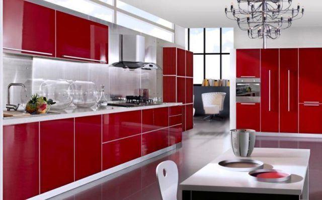 cocinas-minimalistas-modernas-rojas