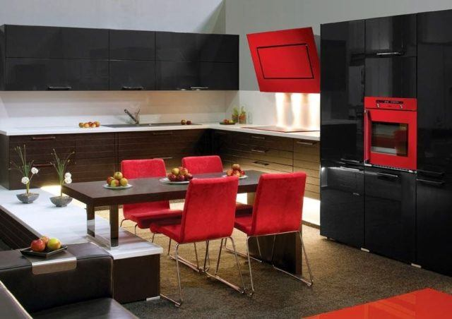 cocinas-minimalistas-modernas-rojas-y-negras
