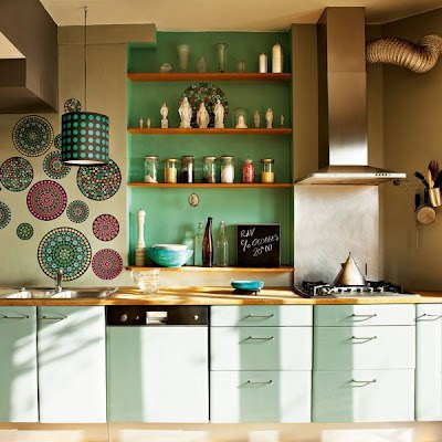 M s de 30 fotos con ideas de cocinas verdes for Cocina verde pistacho