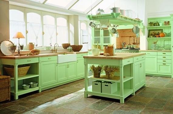 M s de 30 fotos con ideas de cocinas verdes for Limpiar azulejos cocina