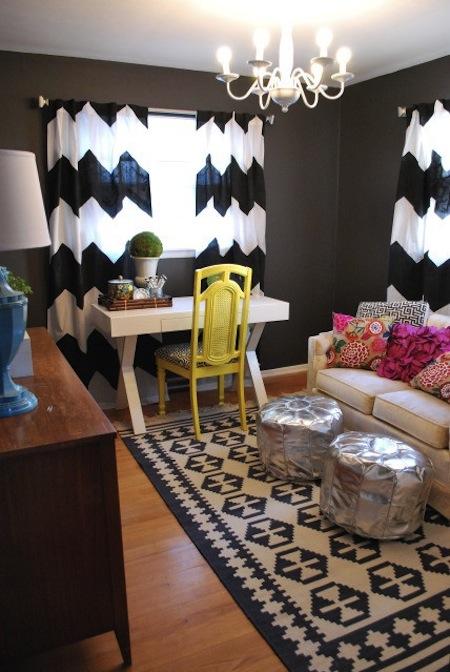chevron alfombra y cortinas