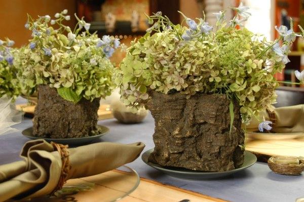 flores con madera