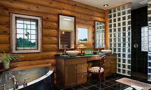 decoracion interiores departamentos rusticos:Estos baños destacan por utilizar materiales de la naturaleza , por