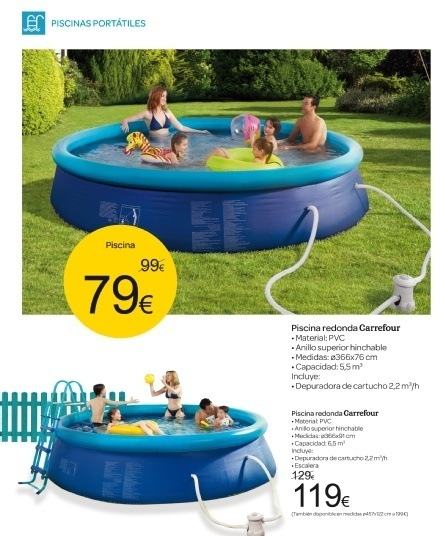 Carrefour catalogo piscinas for Piscinas de plastico carrefour
