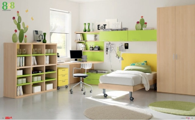colors-bedrooms-children-FURNITURE-in-color-wood-and-green
