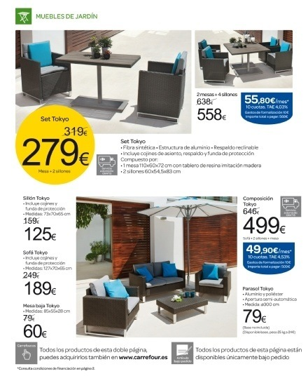 Cat logo carrefour muebles de jard n for Catalogo muebles de jardin