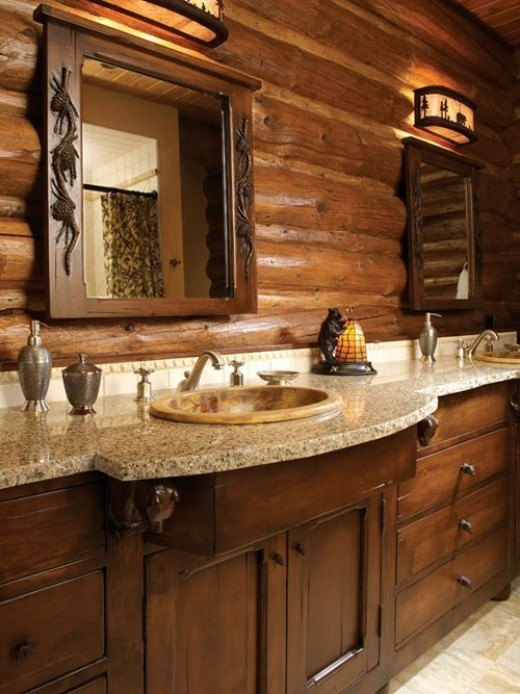 Baños Rusticos Madera:Rustic Bathroom Vanities for Log Home
