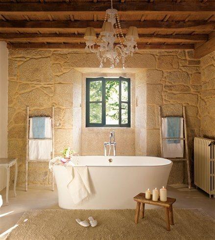 Ba o rustico pared piedra - Catalogo banos rusticos ...