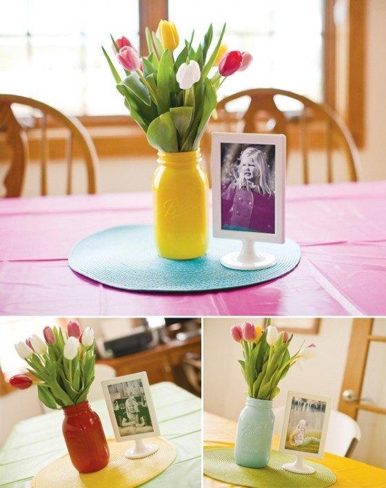 centro mesa con fotos