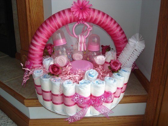 A Baby Shower Centerpiece With Diapers