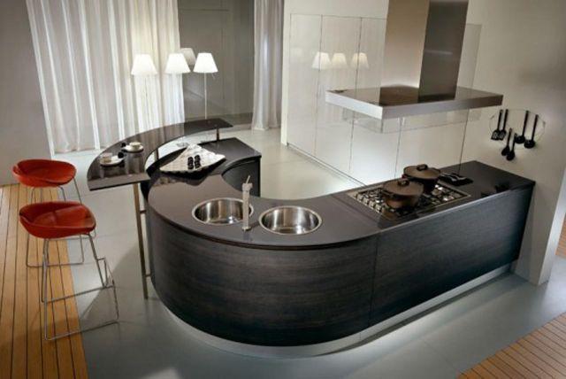 Cocina peque a moderna marron for Como disenar una cocina integral pequena