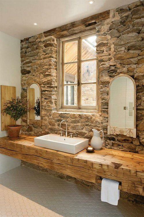 Dise o ba o piedra y madera for Banos en piedra y madera